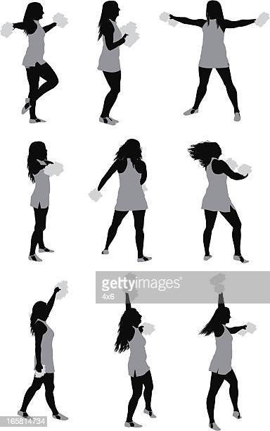 multiple images of cheer leaders - pep rally stock illustrations, clip art, cartoons, & icons
