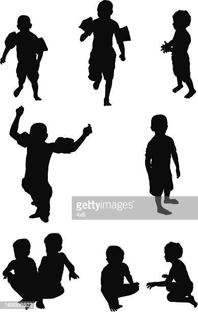 multiple images of children playing - crouching stock illustrations, clip art, cartoons, & icons