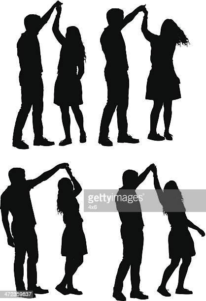 ilustraciones, imágenes clip art, dibujos animados e iconos de stock de múltiples imágenes de pareja bailando - pareja bailando cuerpo entero