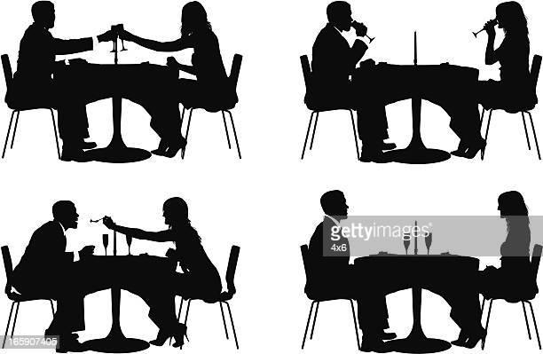 ilustraciones, imágenes clip art, dibujos animados e iconos de stock de múltiples imágenes de pareja sentada en un restaurante. - comer