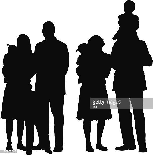 multiple images of families - piggyback stock illustrations, clip art, cartoons, & icons