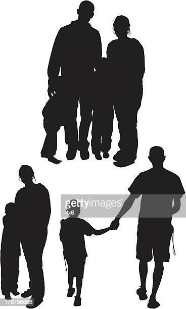 複数の画像の家族 - 子供2人の家庭点のイラスト素材/クリップアート素材/マンガ素材/アイコン素材