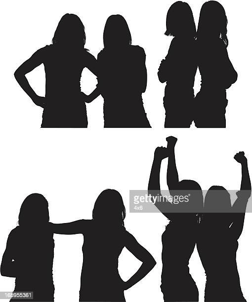 multiple images of female friends - back to back stock illustrations, clip art, cartoons, & icons