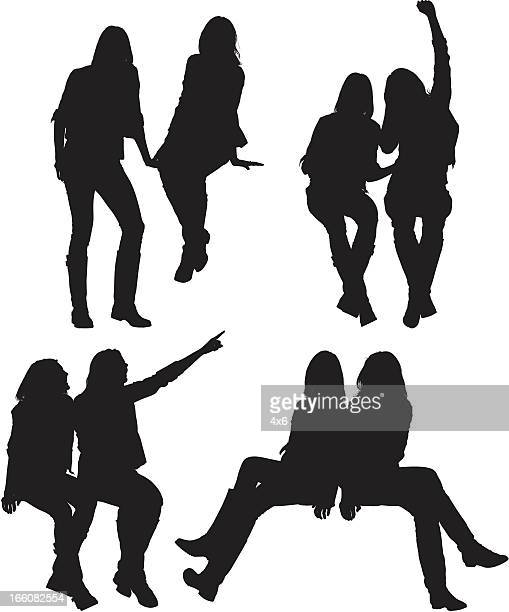 Multiple images of female friends