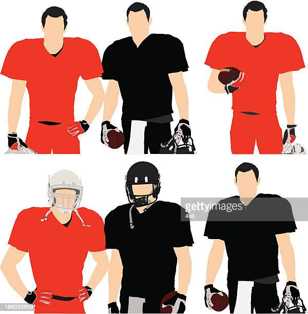 Multiple images of football players