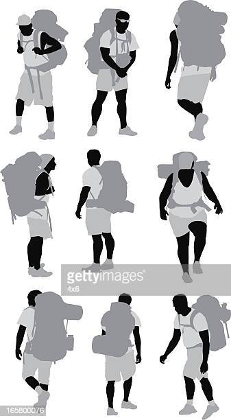 multiple images of hikers - picnic blanket stock illustrations, clip art, cartoons, & icons