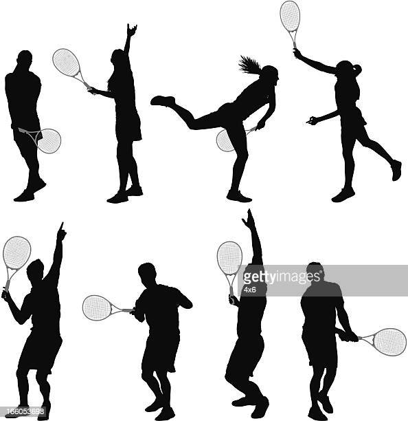multiple images of man and woman playing tennis - sportsperson stock illustrations