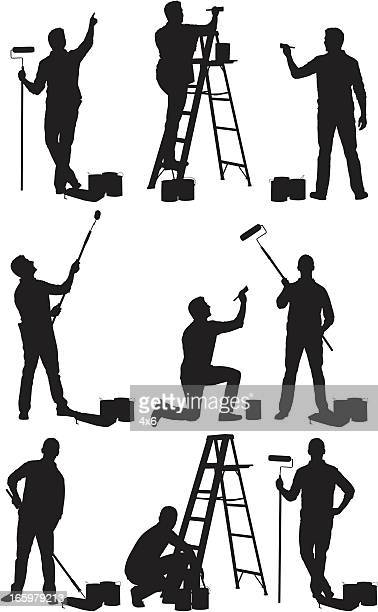 Multiple images of man painting a wall