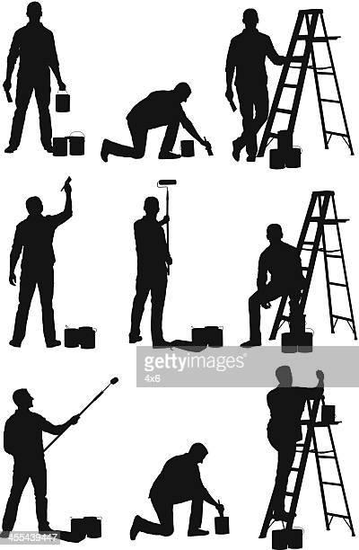 Várias imagens de homem Pintando uma parede