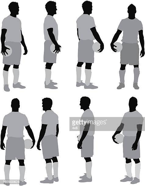 multiple images of man with a ball - sportsperson stock illustrations