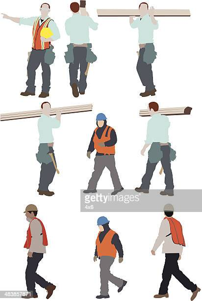 Multiple images of manual workers