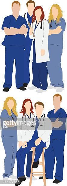 ilustraciones, imágenes clip art, dibujos animados e iconos de stock de múltiples imágenes de profesionales médicos - enfermera