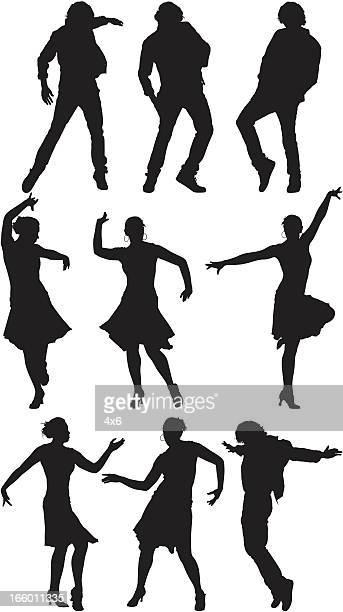 Multiple images of men and women dancing