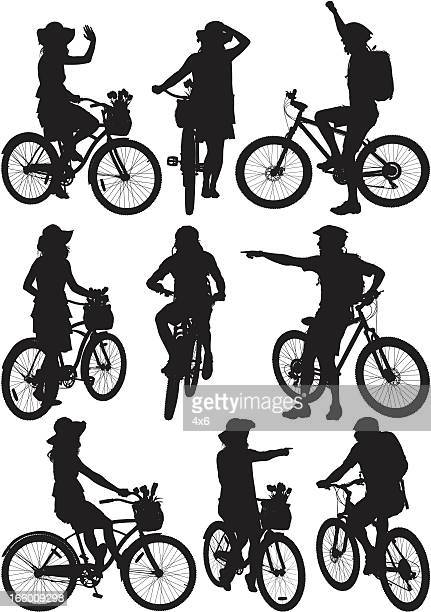 multiple images of men and women with bicycle - biker helmet stock illustrations, clip art, cartoons, & icons