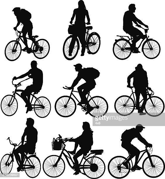 Multiple images of men and women with bicycle