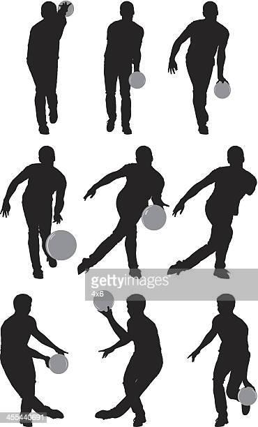 Mehrere Bilder von Männern bowling