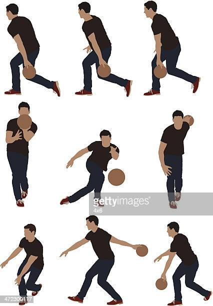 multiple images of men bowling - bowling stock illustrations, clip art, cartoons, & icons