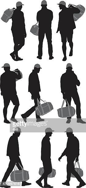 Multiple images of men carrying bag