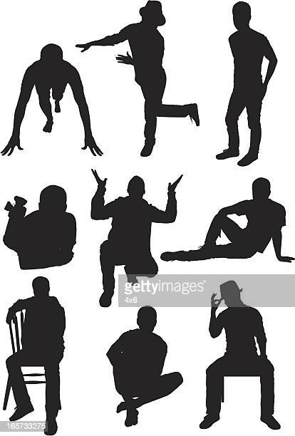 multiple images of men in different poses - standing on one leg stock illustrations, clip art, cartoons, & icons