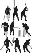 Multiple images of men playing cricket