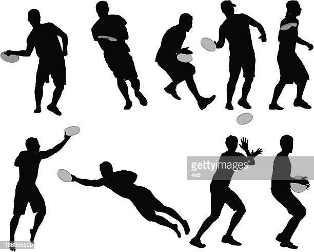 illustrations, cliparts, dessins animés et icônes de plusieurs images d'homme joue frisbee - lance