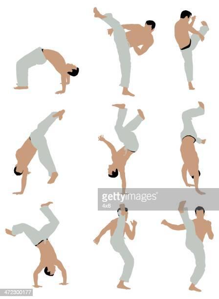 ilustrações de stock, clip art, desenhos animados e ícones de várias imagens de homens praticar capoeira - capoeira