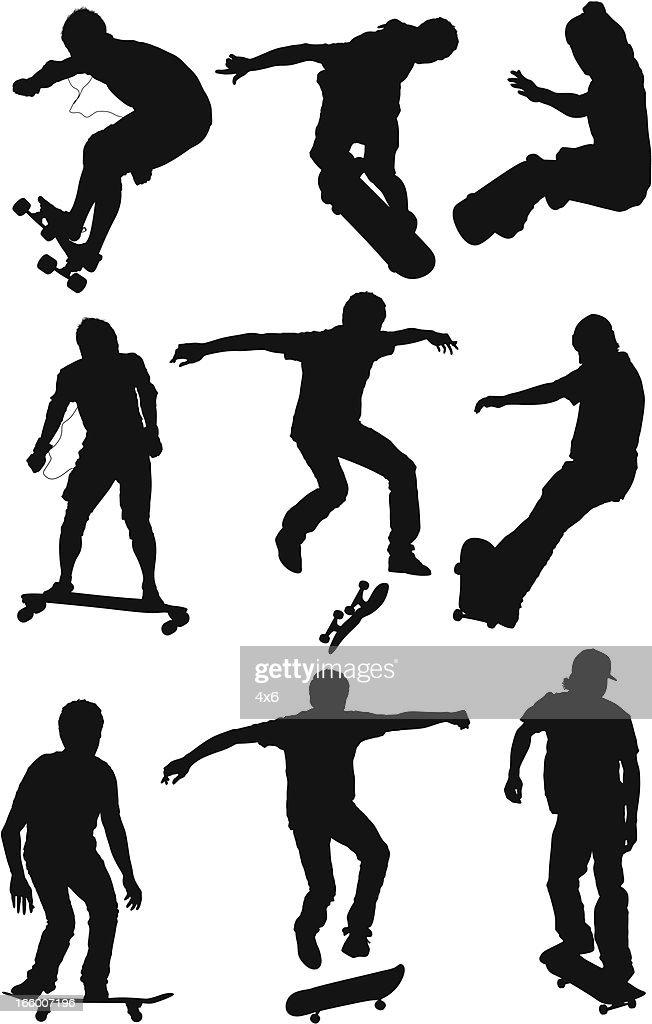 Multiple images of men skateboarding