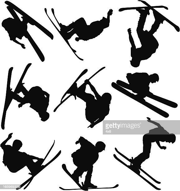 multiple images of men skiing - motorcycle helmet isolated stock illustrations, clip art, cartoons, & icons
