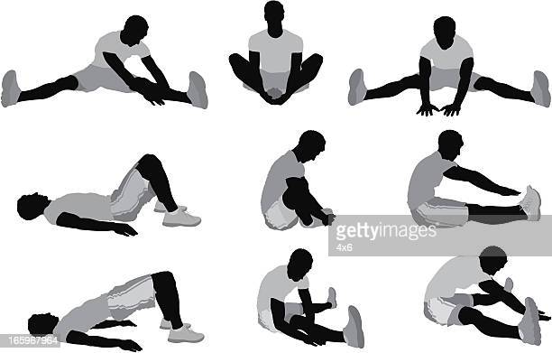 multiple images of men stretching before exercise - stretching stock illustrations, clip art, cartoons, & icons