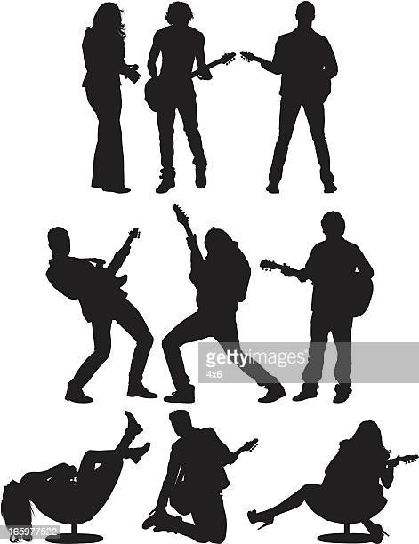 multiple images of musicians - guitarist stock illustrations, clip art, cartoons, & icons