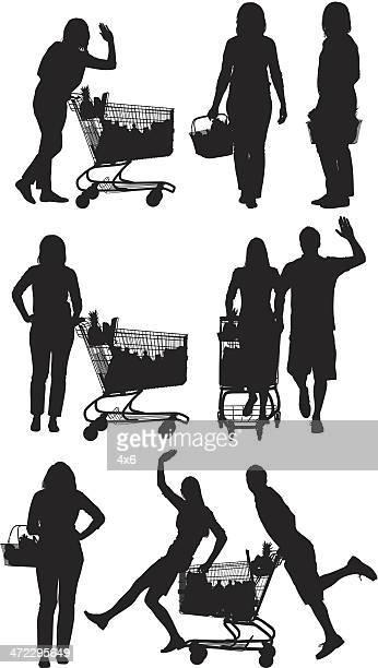 mehrere bilder von menschen im supermarkt - einkaufswagen stock-grafiken, -clipart, -cartoons und -symbole