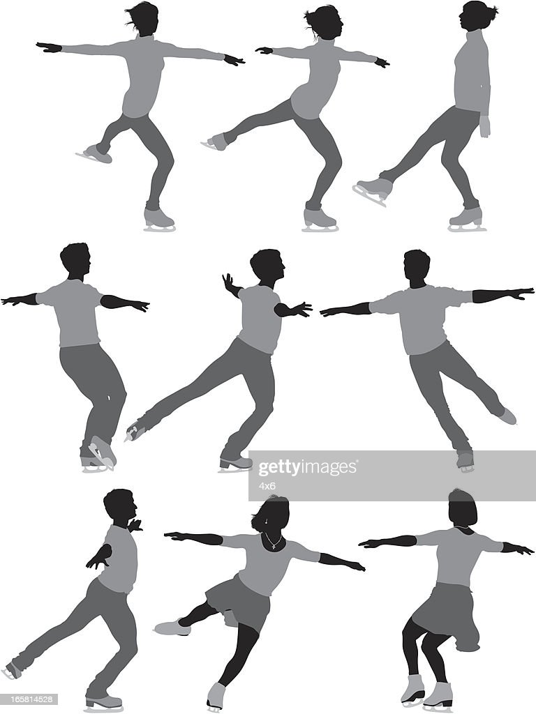 Multiple images of people ice skating