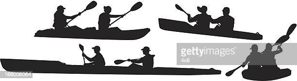 Multiple images of people kayaking