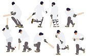 Multiple images of people playing cricket