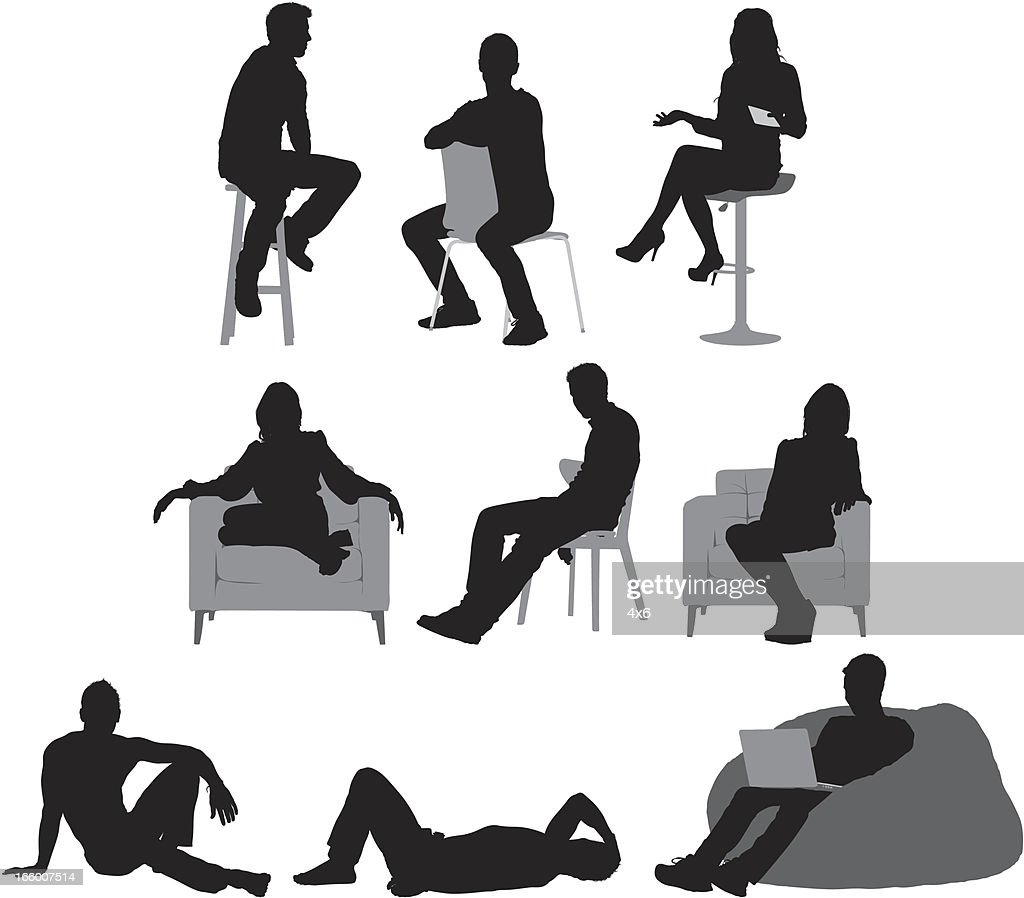 Multiple images of people sitting : stock illustration