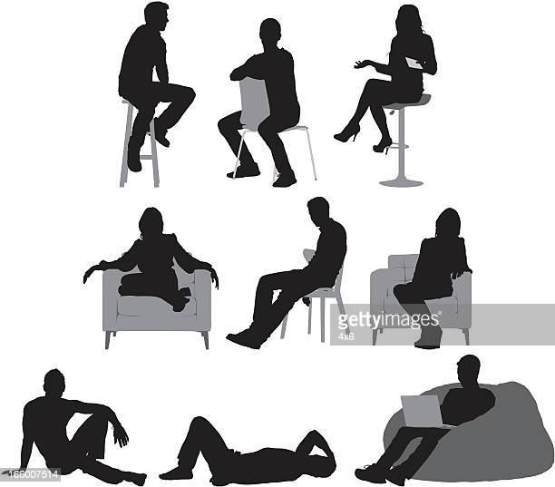 stockillustraties, clipart, cartoons en iconen met multiple images of people sitting - eén persoon