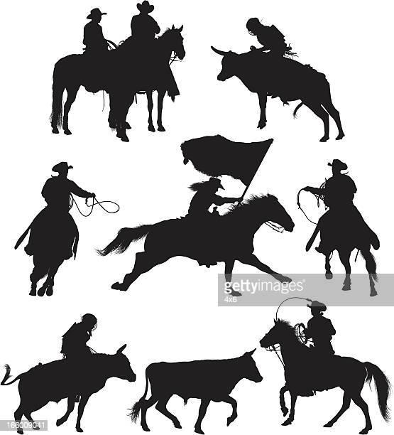ilustrações de stock, clip art, desenhos animados e ícones de várias imagens de rodeio em acção - rodeio