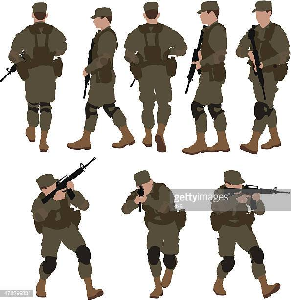 multiple images of soldier with machine gun - special forces stock illustrations, clip art, cartoons, & icons