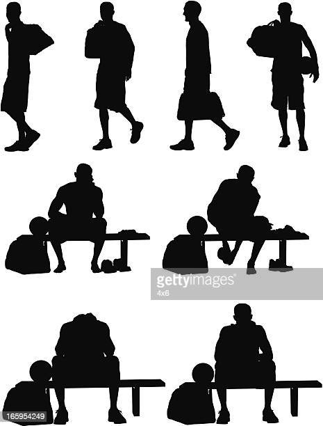 Multiple images of sportsman with bag
