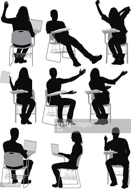 Multiple images of students sitting on writing chairs