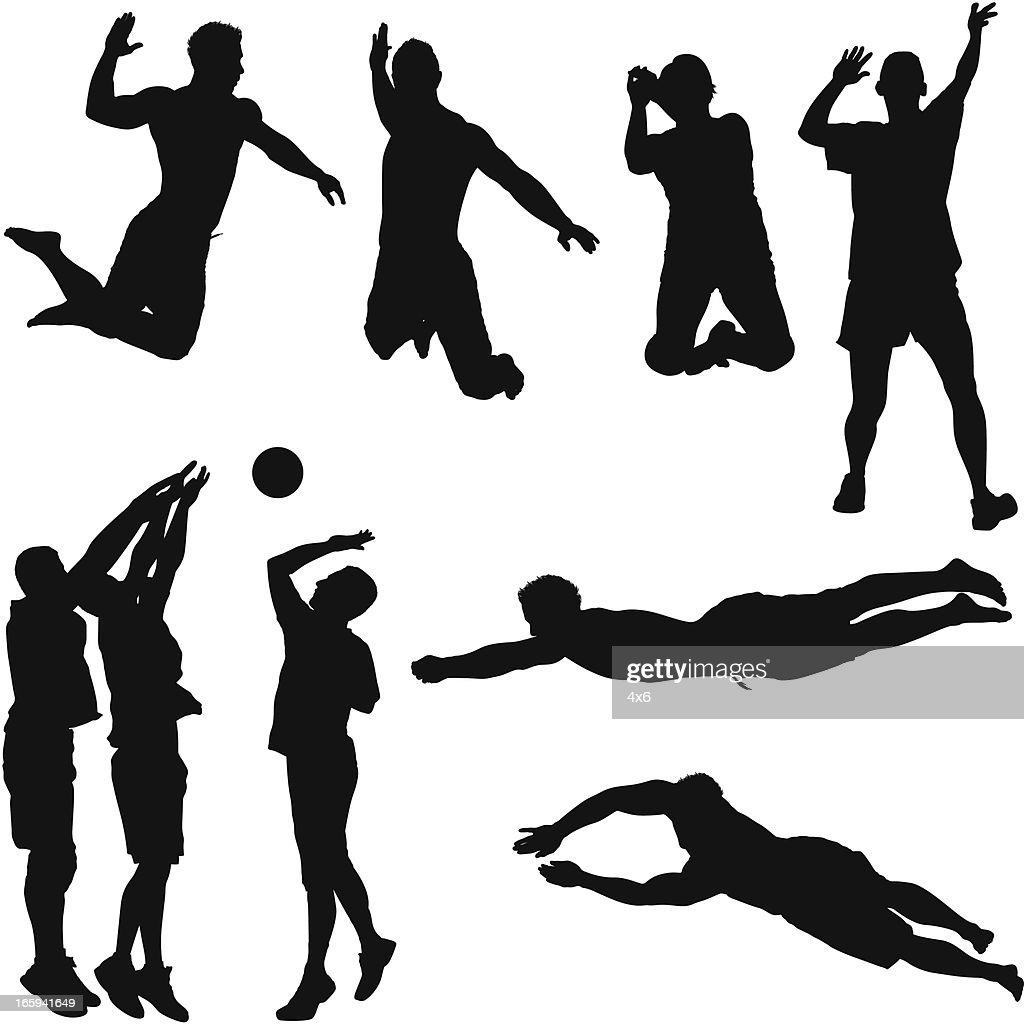 Multiple images of volleyball players in action : Stock Illustration