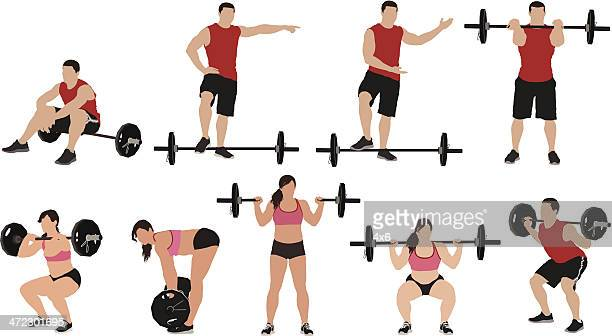 multiple images of weightlifters - crouching stock illustrations, clip art, cartoons, & icons