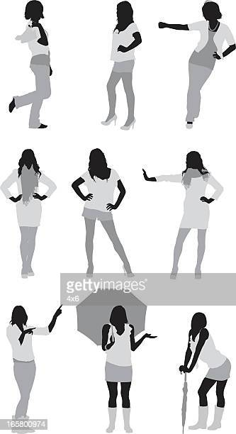 複数の女性のイメージは、異なるアクション - 腰に手を当てる点のイラスト素材/クリップアート素材/マンガ素材/アイコン素材