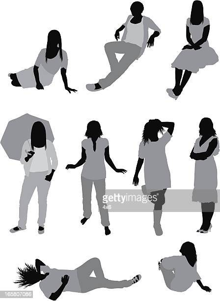 Multiple images of women in different poses