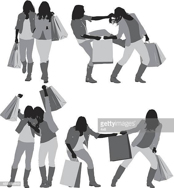 ilustraciones, imágenes clip art, dibujos animados e iconos de stock de múltiples imágenes de las mujeres con bolsas de la compra - tirarse de los pelos