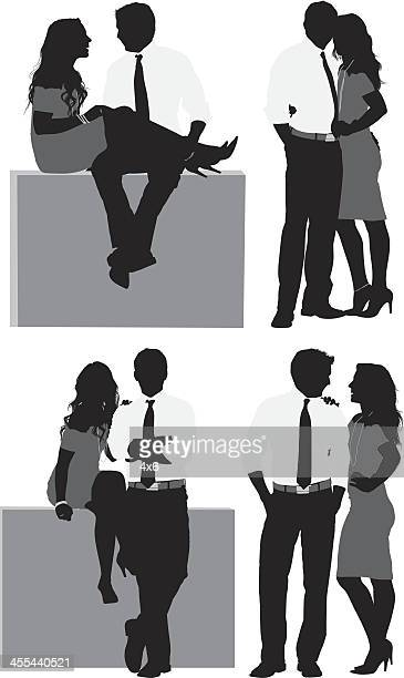 Multiple images of young business couple