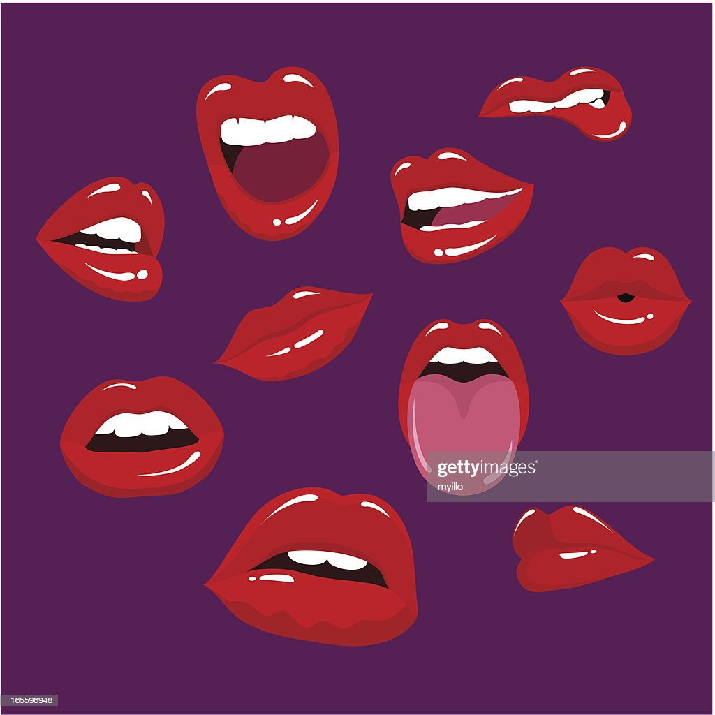 Multiple lips in a purple background