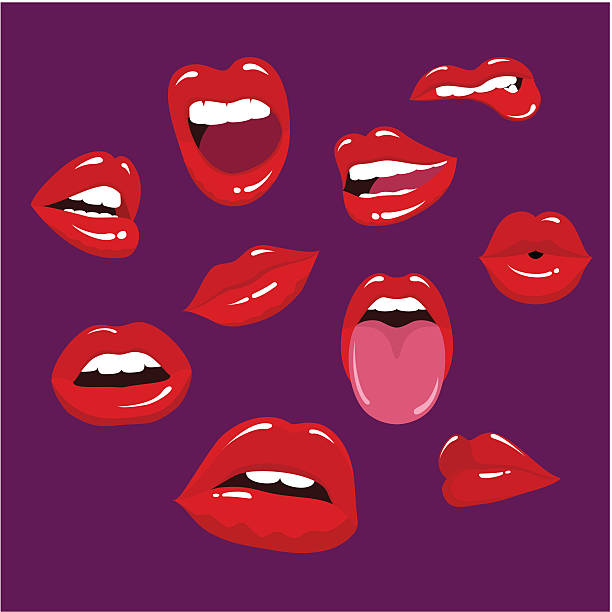 multiple lips in a purple background - lips stock illustrations