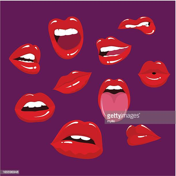 multiple lips in a purple background - human mouth stock illustrations