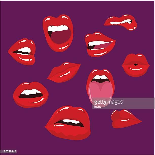 Multiple lips in a purple background